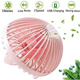 Mazuly Personal Mini USB Desk Fan, Portable Small Cooling Handheld Fans 5.5 Inch Mushroom Design Office Table Desktop Fan Adjustable 2 Speed Modes Low Noise Quiet Fan for Mother Day Gift Kids, Pink