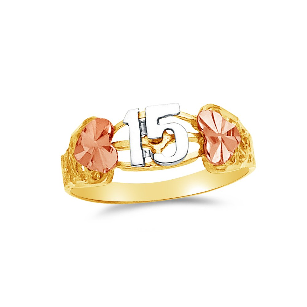 Size 6 Jewel Tie Solid 14k Rose Yellow /& White Gold 15 Years Birthday Heart Ring