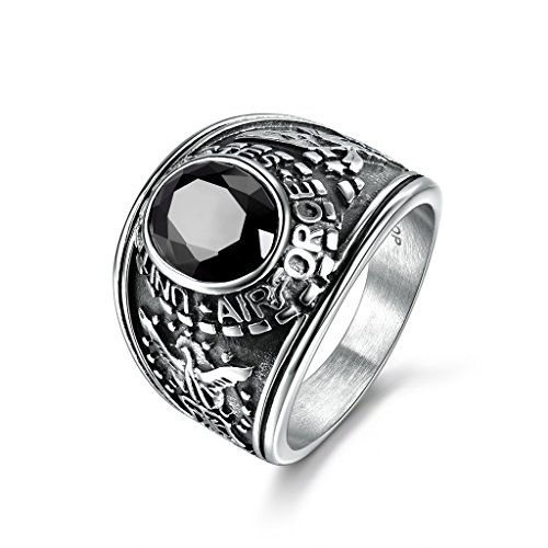 Antiqued Silver Tone Ring (MASOP Titanium Steel Statement Ring Black Cubic Zirconia United State Airforce Silver Tone Size 12)