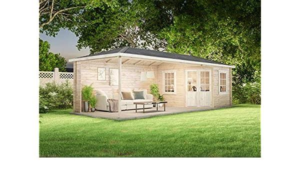 Alpholz Mississippi-40 - Caseta de jardín (40 mm de Grosor, 795 x 302 cm): Amazon.es: Jardín