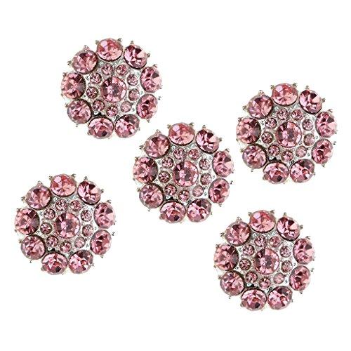 (Baoblaze 5 Pieces Crystal Diamante Flower Pink Rhinestones Silver Buttons Craft Embellishment 25mm)