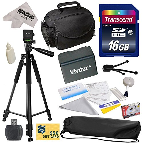 Best Value Accessory Kit for Canon VIXIA HF R52 HFR52, HF R50 HFR50, HF R500 HFR500, HF R32 HFR32, HF R30 HFR30, HF R300 HFR300, HF R42 HFR42, HF R40 HFR40, HF R400 HFR400, HF R36 HFR36, HF R306 HFR306, HF R38 HFR38, HF M50 HFM50, HF M52 HFM52, HF M56 HFM56, HF M500 HFM500, HF M506 HFM506 Video Camera Camcorder Includes - 16GB High-Speed SDHC Card + Card Reader + Vivitar BP-718 BP718 Extended 2300 mAh Lithium Ion Battery + Deluxe Padded Carrying Case + Professional 60