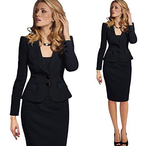 Fitted Blazer Black (HOPES KINGDOM Womens Fashion Long Sleeve Slim Fitted Ladies Office Blazer Suit Jacket Black Large)
