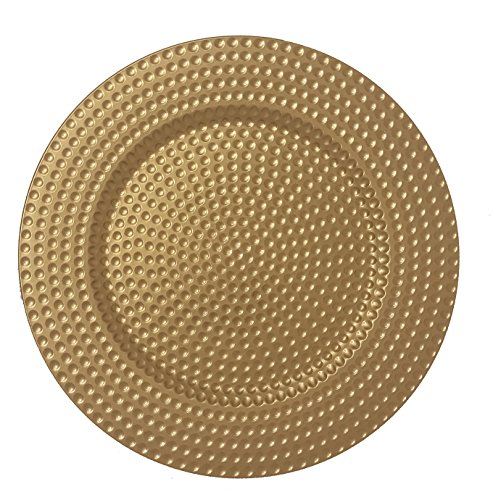 AK-Trading - Set of 12, Premium Finest Quality Party Plate Chargers, 13-Inch Round, Gold Hammered Design by AK TRADING