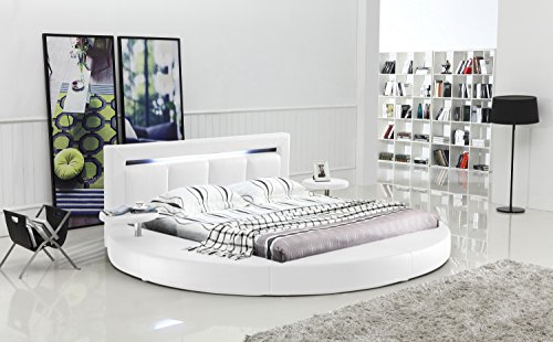 Oslo Round Bed with Headboard Lights King Size White