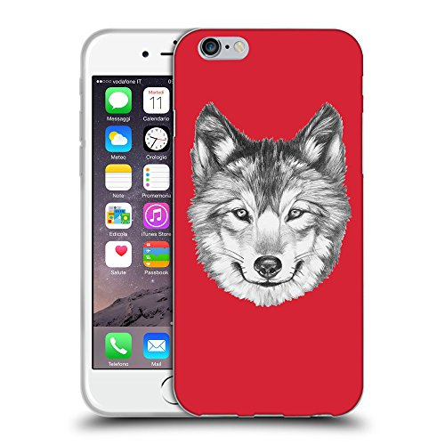 GoGoMobile Coque de Protection TPU Silicone Case pour // Q05430601 Portrait loup Alizarine // Apple iPhone 7