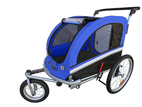 MB Booyah Large Pet Trailer Pet Bike Trailer & Jogger with Shocks - Blue