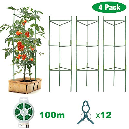 Plant Support Assembled Tomato Cage - Vegetable Trellis,Assembled Tomato Garden Cages Stakes with 12Pcs Clips, for Climbing Plants, Vegetables, Flowers, Fruits, Vine - 4 Pack
