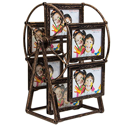 Large Rotating Ferris Wheel Twelve 3.5 x 5 In Picture Frame Vintage DIY Keepsake Windmill Photo Frame New Year Gift for Family, Retro Home - Steampunk Frame