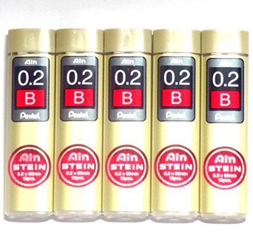 Pentel Ain Pencil Leads 0.2mm B, 10 Leads X 5 Pack/total 50 Leads(Japan Import) [Komainu-Dou Original Package]