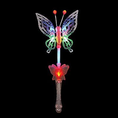 "Flashing Panda Large 18"" Flashing Multicolor LED Butterfly Wand with Music: Toys & Games"