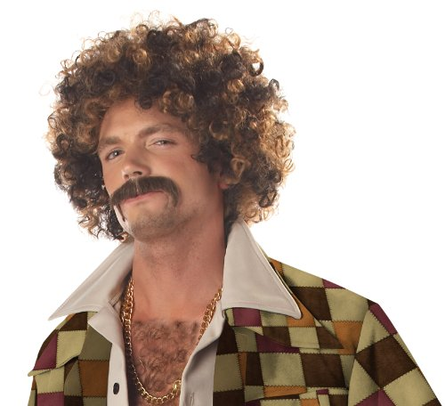 Blonde Curly Costumes Wig (California Costumes Men's Disco Dirt Bag Wig & Moustache, Blonde/Brown,One Size)