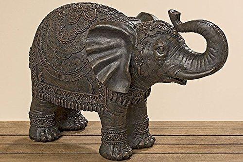 Unbekannt Figura Decorativa Elefante Oriental Ind/ú Marr/ón de Resina A30 L45 cm