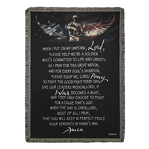 Prayer Tapestry Throw - American Soldier Prayer Black 52 x 68 All Cotton Fringe Trim Blanket Throw Tapestry