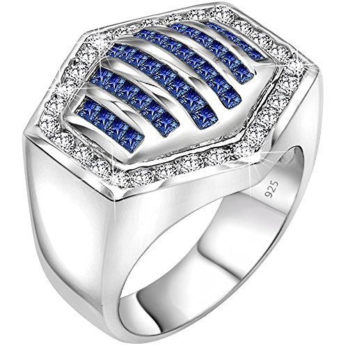 Sterling Manufacturers Mens Sterling Silver .925 Hexagonal Ring Featuring 64 White and Azure Blue Round and Baguette Cubic Zirconia (CZ) Stones, Platinum Plated Iced Out Flashy Eye Catching