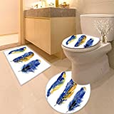 3 Piece large Contour Mat set Hand drawn vibrant set Bathroom Rugs Contour Mat Lid Toilet Cover