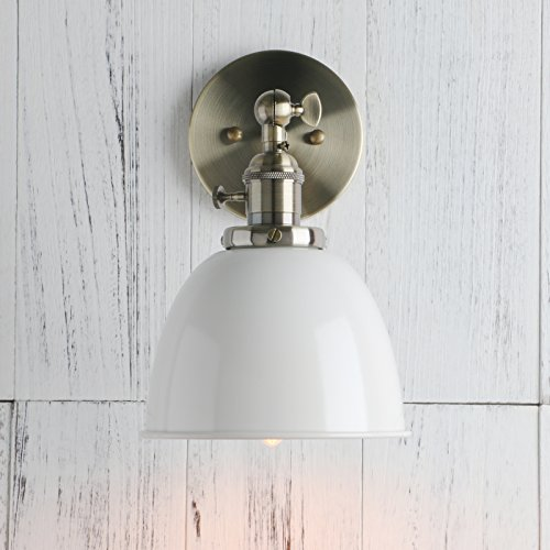 Light Dome Cap White (Permo 6.3-Inch Metal Dome Shade Industrial Wall Sconce Lighting Fixture (White))