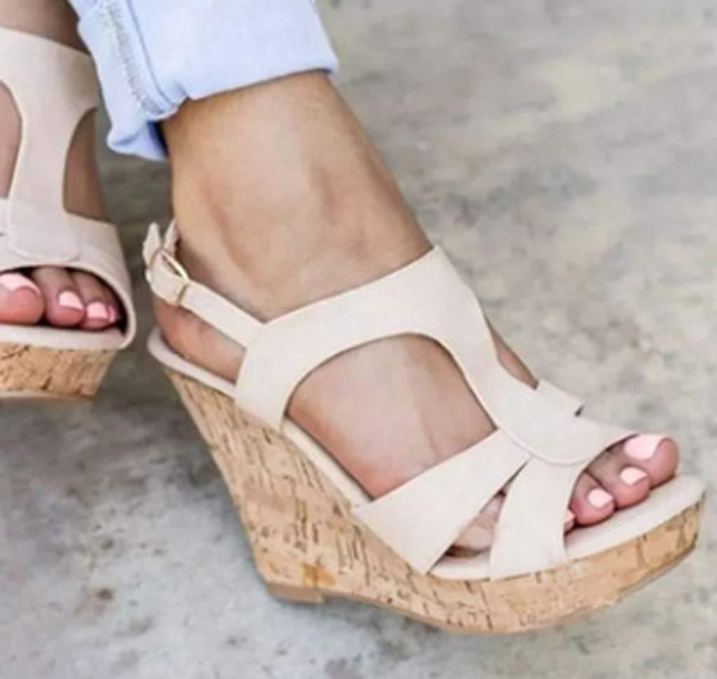 EDTO Women Summer Wedges Platform Sandals Retro Womens Wedges Heels Flats Strap Buckle Shoes Open Toe Thick Bottom Roman Sandals