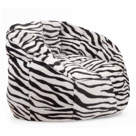 Mainstays Cocoon Chevron Faux Fur Bean Bag Chair in White