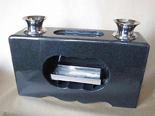 墓石 花立 香炉 一体式(インド黒御影石) B01AOUB22U