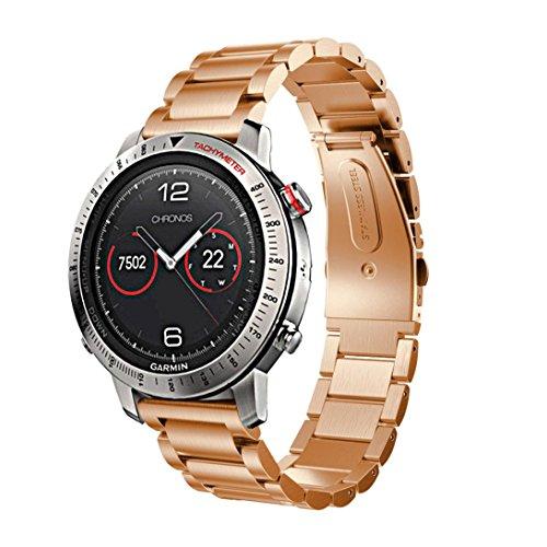 - Outsta For Garmin Fenix Chronos Stainless Steel Bracelet Smart Watch Band Strap Rose Gold