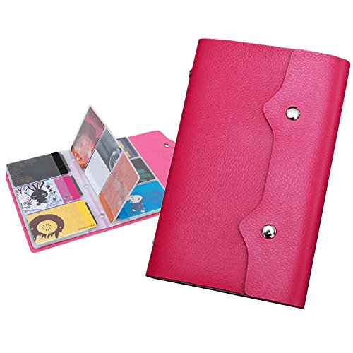 Xerhnan PU Leather Business Name Card Case Universal Card Holder (Hold 100 pics of cards)Pink 2 Pcs