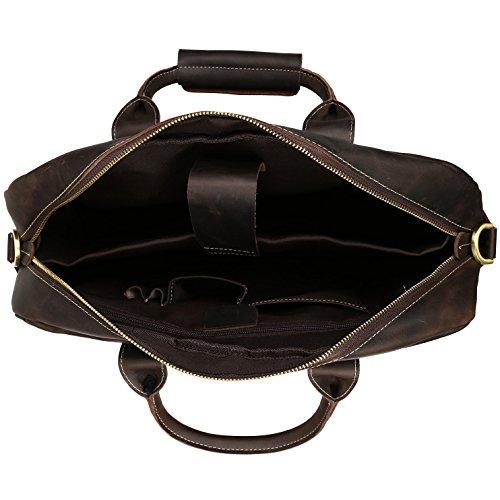 BAIGIO Men Retro Leather Briefcase Laptop Computer Office Business Shoulder Tote Messenger Bag (Dark Brown) by BAIGIO (Image #3)