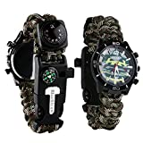 LAL Multifunctional Emergency Survival Watch,6 in 1 Outdoor Survival Military Watch,Hand-Woven Camouflage Wrist Watch with Paracord Whistle Fire Starter Compass and Thermometer Gear