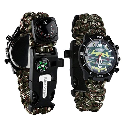 LAL Multifunctional Emergency Survival Watch,6 in 1 Outdoor Survival Military Watch,Hand-Woven Camouflage Wrist Watch with Paracord Whistle Fire Starter Compass and Thermometer Gear by LAL