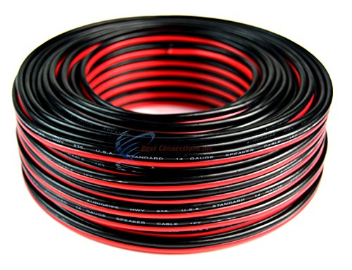 100' Feet 14 Gauge Red Black Stranded 2 Conductor Speaker Wi