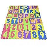 Puzzle Play Mat,Foam Floor Play Mat,Foam Interlocking Tiles,Alphabet & Number Foam Puzzle Mat,NON-TOXIC EVA 36 Piece Multi-Color Children Play & Exercise Mat (Large) (Large)