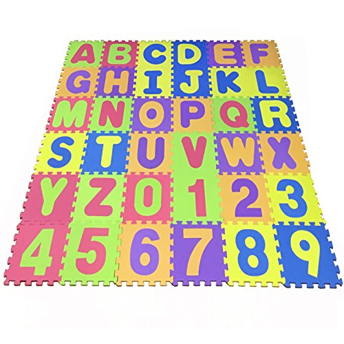 Puzzle Play Mat,Foam Floor Play Mat,Foam Interlocking Tiles,Alphabet & Number Foam Puzzle Mat,NON-TOXIC EVA 36 Piece Multi-Color Children Play & Exercise Mat (Large) (Large) by Chuanyue