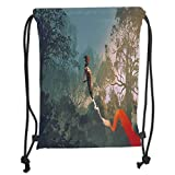 Custom Printed Drawstring Sack Backpacks Bags,Fantasy Art House Decor,Cyclist Riding Bike with Track in Air Foggy Park Artsy Extreme Sports,Multi Soft Satin,5 Liter Capacity,Adjustable String Closure,