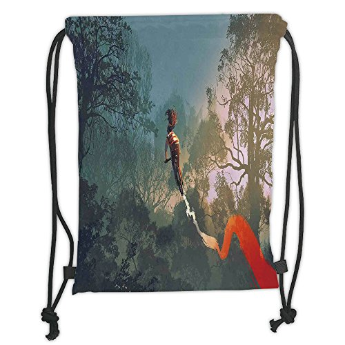 Custom Printed Drawstring Sack Backpacks Bags,Fantasy Art House Decor,Cyclist Riding Bike with Track in Air Foggy Park Artsy Extreme Sports,Multi Soft Satin,5 Liter Capacity,Adjustable String Closure, by iPrint