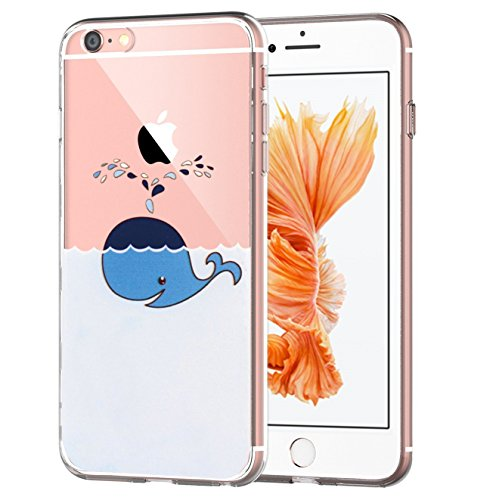 iPhone6S Case iPhone6 Case Matop Flexible Soft Transparent TPU Back Cover Silicone Skin Scratch-Resistant Premium Anti-Slip Shockproof Cute Cover for iPhone 6 6S, 4.7 inch (Transparent Whale)