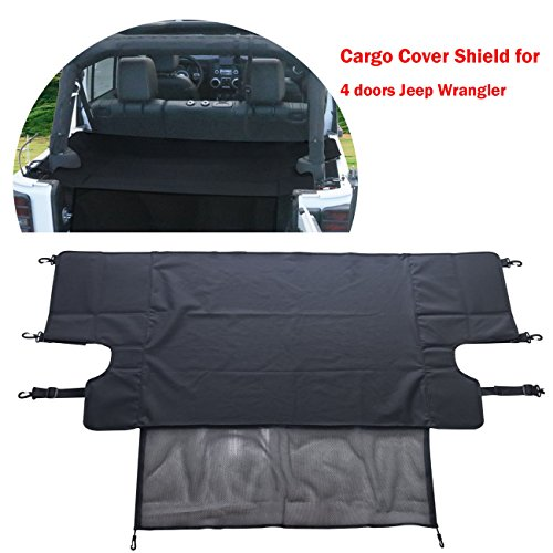 [ Upgrade with NET ] Rear Trunk Shade Cargo Cover Shield for 4 doors Jeep Wrangler JKU Sports/ Sahara/ Freedom/ Rubicon Unlimited 2007-2017