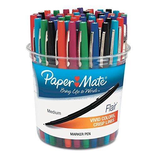 Paper Mate Flair Felt Tip Marker Pen, Assorted Ink, Medium, 48 Pens/Set (PAP4651)