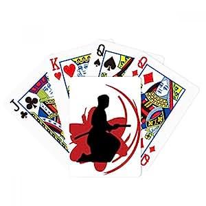 Bushido Samurai Katana Sakura Silhouette Japan Poker Playing Cards Tabletop Game Gift