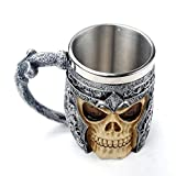 Funnytoday365 3D Skull Head Cup Stainless Steel Man Cups Coffee Tea Cup Office 301-400Ml Home