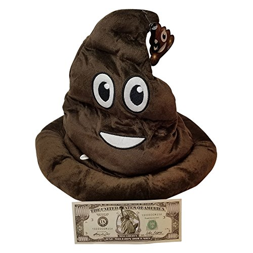 Emoticon Light Up Emoji Poop Hat Plush Head Wear 12 Inches High by with non negotable Million Dollar Bill Imprints Plus