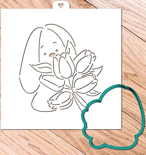 - Cookie Cutter with Stencil set BUNNY WITH BOUQUET OF TULIPS
