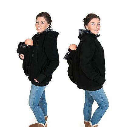 ZLQF Mujer Maternidad Canguro Capucha 3 En 1 Chaqueta del Portador De Bebé Invierno Cálido Capa