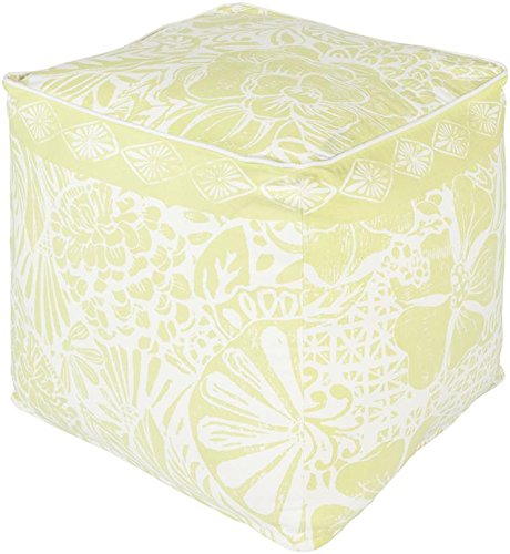 Surya KSPF-002 Kate Spain 100-Percent Cotton Pouf, 18-Inch by 18-Inch by 18-Inch, Butter/Ivory by Surya