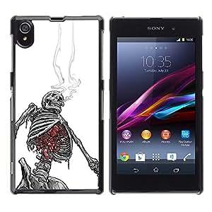 "For Sony Xperia Z1 Case , Smoking Skeleton Skull Blanco Negro"" - Diseño Patrón Teléfono Caso Cubierta Case Bumper Duro Protección Case Cover Funda"