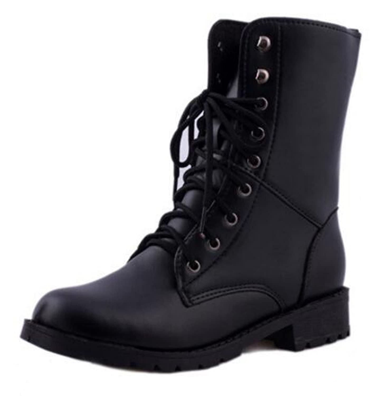 CHFSO Women's Stylish Solid Waterproof Faux Fur Lined Round Toe Lace Up Low Heel Couple Winter Martin Boots