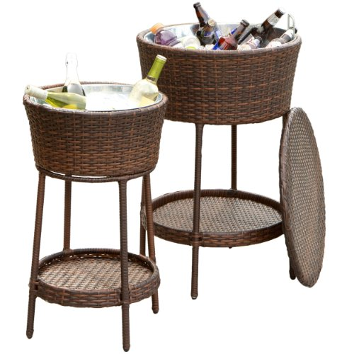 2-piece Outdoor Wicker Wine Cooler Buckets