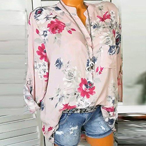 Top Camicia Giacche Chiffon Tailleur Polo A Maniche Abbigliamento Lunghe Shirt in MODA Vestiti OHQ Stampa con Donna Rosa E Camicie Maglietta T Bluse Floreale q44wCFv