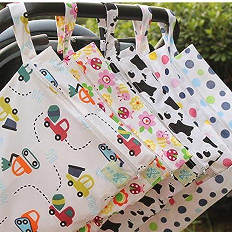 CHOULI Wet Dry Bag Splei/ßtuch Windel Wet Bags wasserdichte Doppel-Kinderwagen Blue Dot