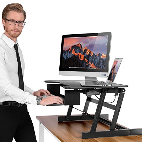 [NEW]Height-adjustable Standing Desk,SMONET Healthy Sit-stand Desktop Computer Workstation | Raising and Lowering to Various Positions for Comfort (Black) by SMONET
