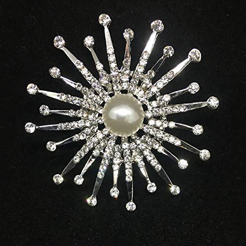 Sxuefang Brooch Retro Style Diamond Ring Pearl Flower Brooch Garment Accessories